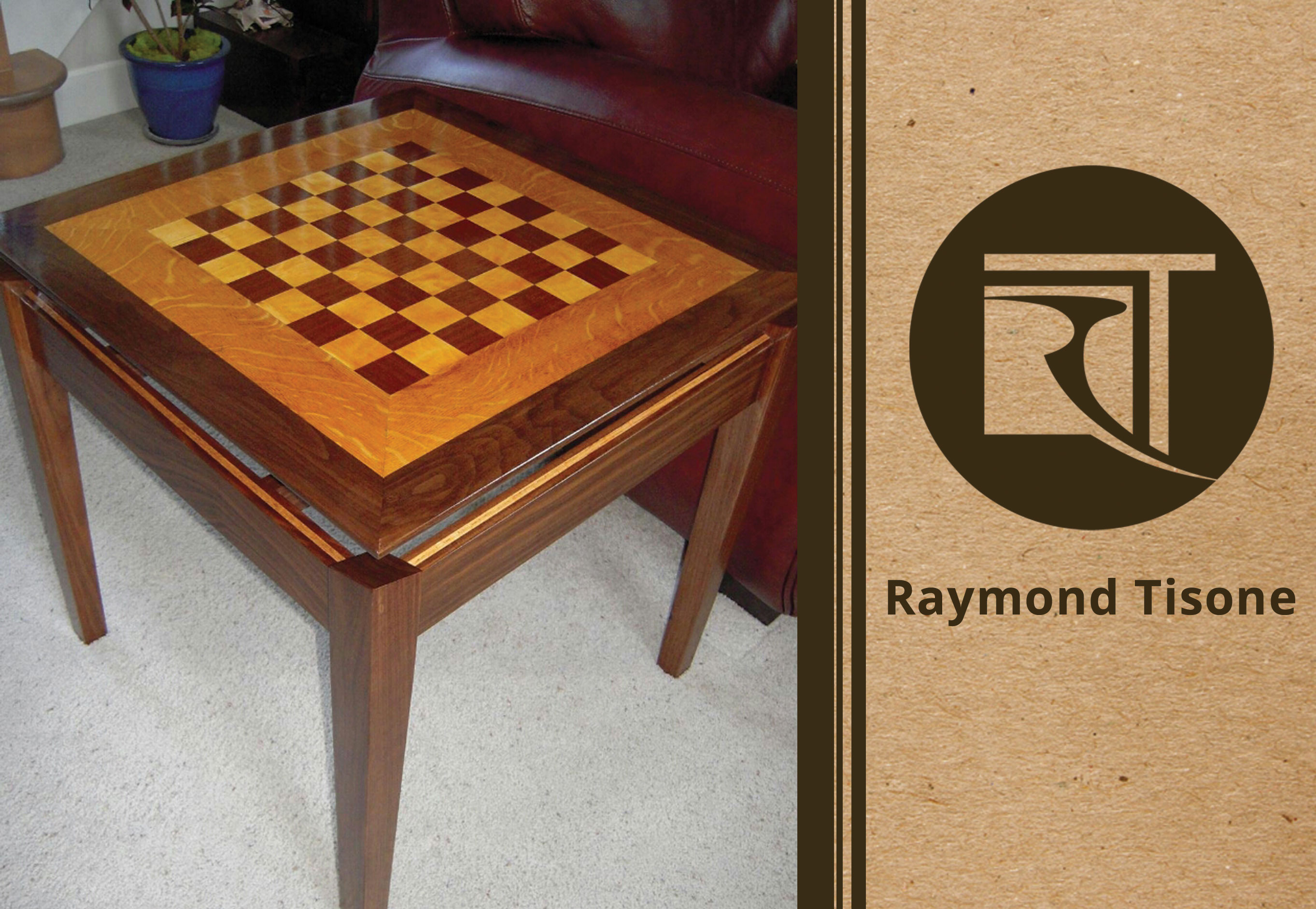 Attractive Custom Furniture U2013 Walnut Wood With Maple Accent Chess Table