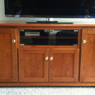 Custom Furniture – 4-Door Solid Cherry Wood Entertainment Center