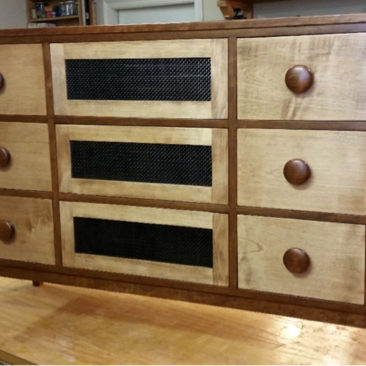 Custom Furniture – 6-Drawer Cherry & Maple Wood Entertainment Center